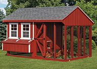 Combination Run and Coop Chicken Coops for 12-14 chickens