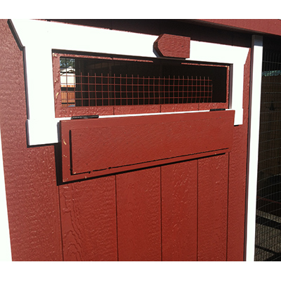 safe chicken coops and safe hen houses - latch and wire on ventillation lid